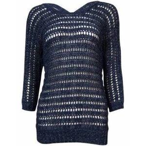 INC Women's Crisscross Sequined Sweater L Blue